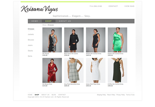 Krisana website Shopping default page