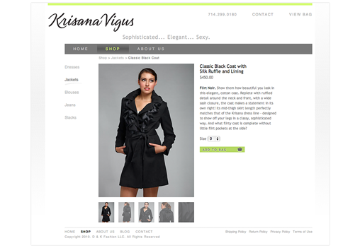 Krisana website Product page